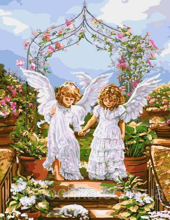 Раскраска на холсте без коробки Ангелочки и цветочная арка (BK-GX8966) 40 х 50 см