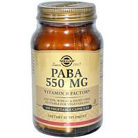 Solgar, PABA, 500 мг, 100 растительных капсул