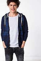 Синяя мужская спортивная кофта De Facto/ Де Факто с надписью на груди