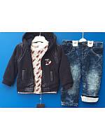Теплый костюм 3ка для мальчика с курткой и джинсовыми штанами на махре 9-24 мес