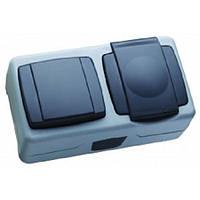 Вимикач 1-клавішний+розетка з кришкою IP44 Сіра Makel