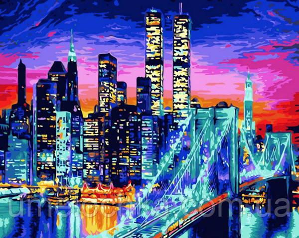 Картина по номерам (цветной холст) DIY Babylon Premium Бруклинский мост в огнях (NB1434) 40 х 50 см
