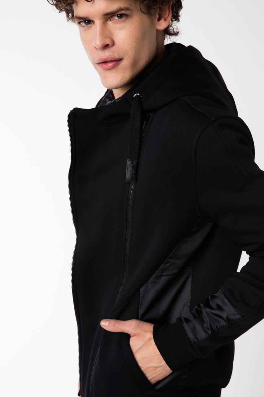 Черная спортивная мужская кофта De Facto/ Де Факто с капюшоном