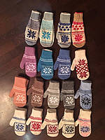 Детские теплые варежки-перчатки из ангоры