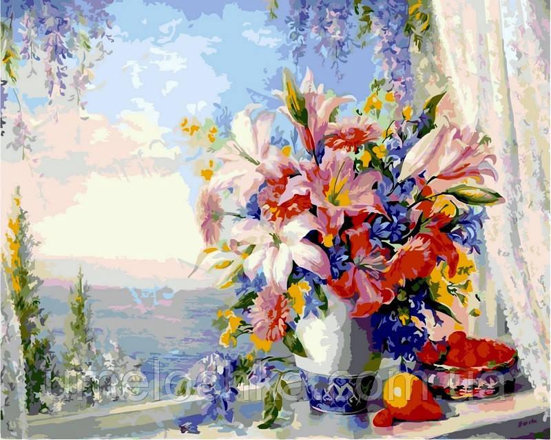 Раскраска по цифрам (цветной холст) DIY Babylon Premium Лилии на окне с видом на море (NB330) 40 х 50 см