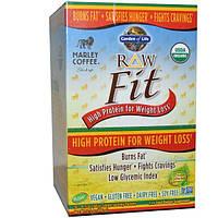 Garden of Life, Organic, RAW Fit, с высоким содержанием протеина для сброса лишнего веса, аромат Marley Coffee, 10 пакетиков, по 15,5 унций (44 г)