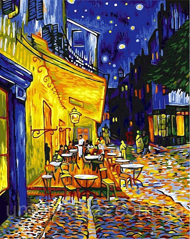 Картина по номерам (на цветном холсте) DIY Babylon Premium Ночная терраса кафе (NB504) 40 х 50 см