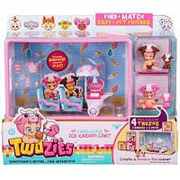 Игровой набор Twozies S1 Тележка с мороженым (с аксессуарами, 2 эксклюзивных малыша, 2 питомца)