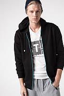 Черная мужская спортивная кофта De Facto/ Де Факто с голубой молнией XXL