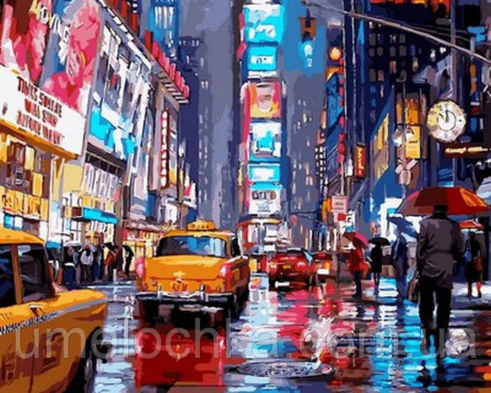 Картина по номерам (на цветном холсте) DIY Babylon Premium Таймс-сквер Нью-Йорк (NB762) 40 х 50 см