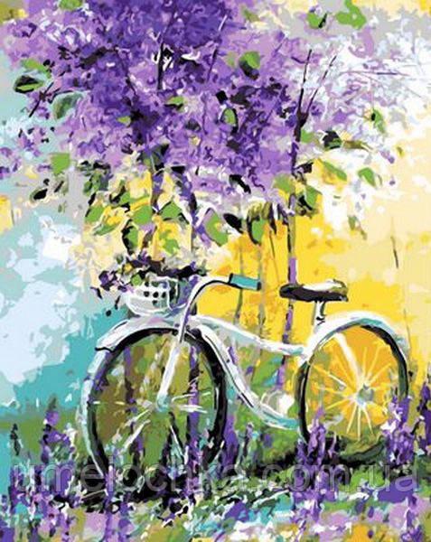 Картина по номерам (на цветном холсте) DIY Babylon Premium Велосипед в зарослях лаванды (NB765) 40 х 50 см