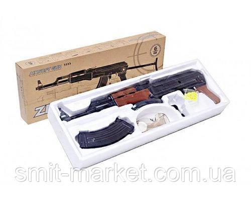 Детское игрушечное оружие. Автомат Калашникова ZM93-S, пульки в комплекте, металл, склад. приклад, фото 2