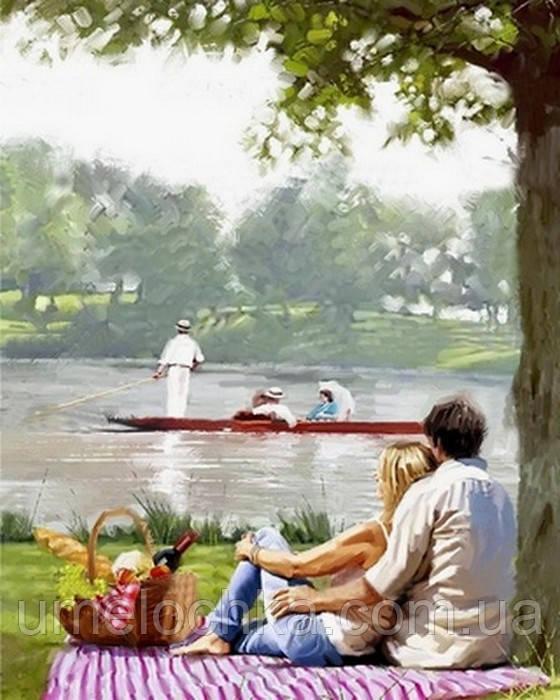 Рисование по номерам DIY Babylon Пикник на берегу реки (VP770) 40 х 50 см