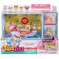 Игровой набор Twozies S1 Прогулка в лодке  (с аксессуарами, 2 эксклюзивных малыша, 2 питомца)