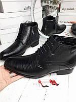 Мужские классически зимние ботинки кожа,зауженый носок