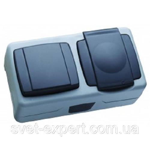 Вимикач 1-клавішний+розетка з кришкою IP55 плюс Makel