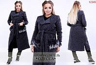 "Пальто больших размеров ""Букле +  мех лама на карманах"""