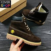 Зимние ботинки Timberland, цвет - коричневый, материал - натуральный нубук, утеплитель - овчина