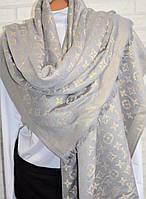 Палантин шарф Louis Vuitton (Луи Витон) серо-золотой