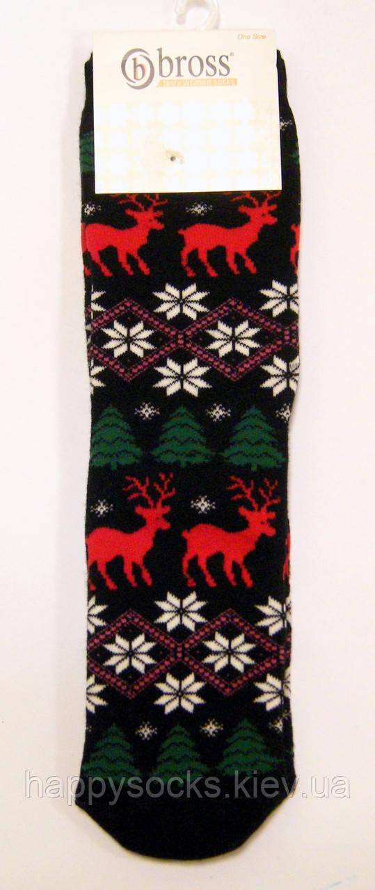 Носки женские в олени и снежинки махровые