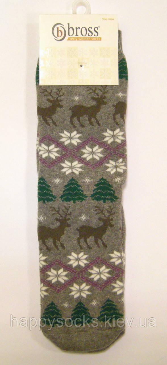 Махровые носки женские с оленями и снежинками