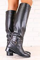 Зимние женские сапоги-европейка, кожаные низкий ход, черные, без замка, с ремешками