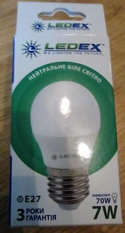 LED лампa  LEDEX 7W  E27 нейтральный белый свет