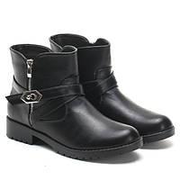 Черные женские ботинки на низком каблуке с пряжками WORKERY