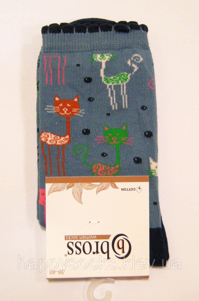 Женские носки хлопковые с котиками высокие
