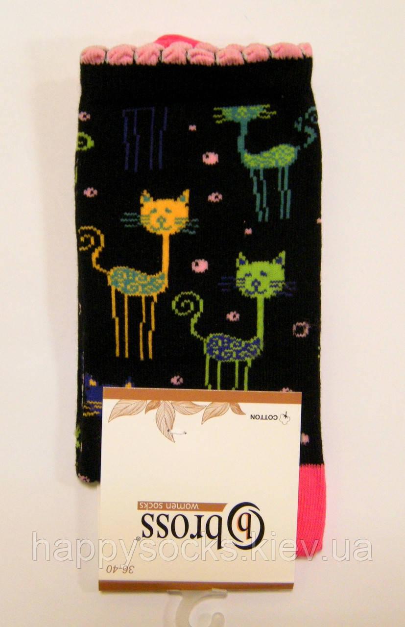 Женские хлопковые носки с котиками