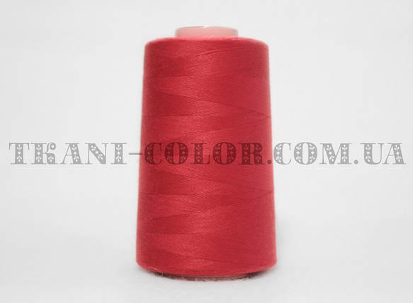 Нитка швейная 40/2 красная 4000 ярдов, фото 2