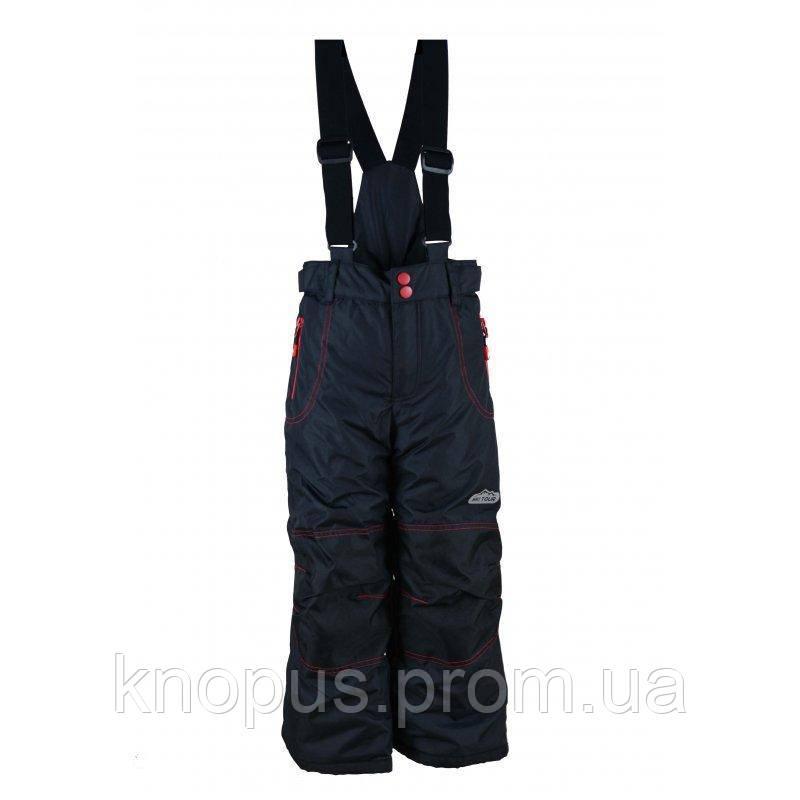 Зимний лыжный термо полукомбинезон черный с красным, Pidilidi