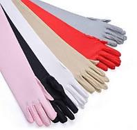 Перчатки стрейч-атлас, 48-50 см, за локоть, длинные