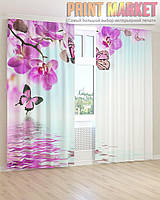 Фото шторы ветка орхидеи и бабочка