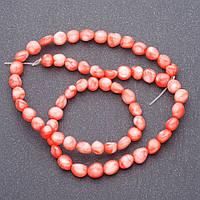 """Бусины натуральный камень Коралл  розовый """"бубочка"""" на нитке, леске для рукоделия L- 40см d-6мм"""