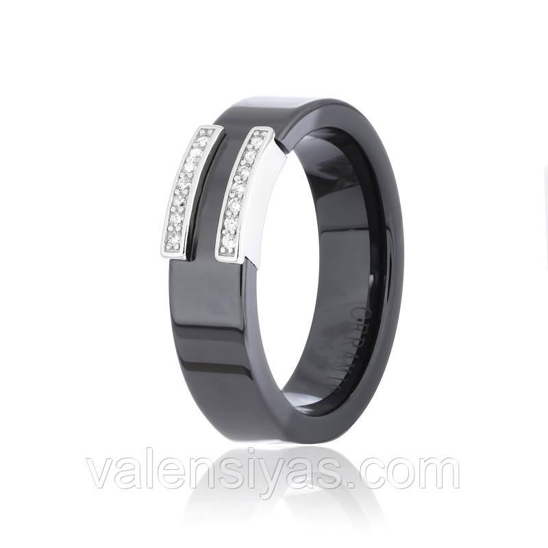 Серебряное кольцо с черной керамикой К2ФК/1012