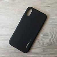 Тонкий силиконовый черный чехол для iphone X
