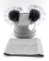 Теплая ангоровая шапка детская 50-56р с хомутом оптом снуд