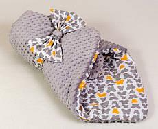 Детский плюшевый зимний конверт BabySoon Бабочки 80 х 85см серый (062)