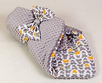 Конверт - одеяло на выписку демисезонный BabySoon Бабочки на сером 80 х 85см серый (024)