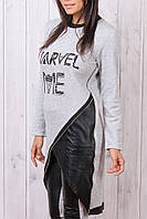 Тёплый гламурный фирменный спортивный костюм Турция S M L XL XXL серый, фото 1