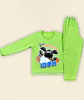 TM Dresko Пижама детская Барашек Шон накат зеленый начес (70038)
