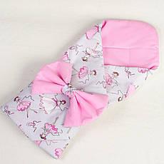 Конверт - ковдру на виписку демісезонний BabySoon Балеринки 80 х 85 см рожевий (053)
