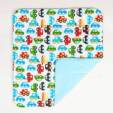 Детский плед  одеяло BabySoon Автомобили 80 х 85 см бирюзовый (212)