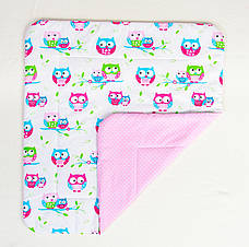 Дитяче бавовняну ковдру BabySoon Ніжні совушки 80 х 85 см рожевий (269)