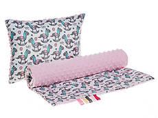 Комплект в детскую коляску BabySoon Лошадки одеяло 75 х 78 см подушка 30 х 40 см розовый (291)