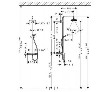 Душевая система HANSGROHE Croma Select E 180 2jet Showerpipe 27256400, фото 2