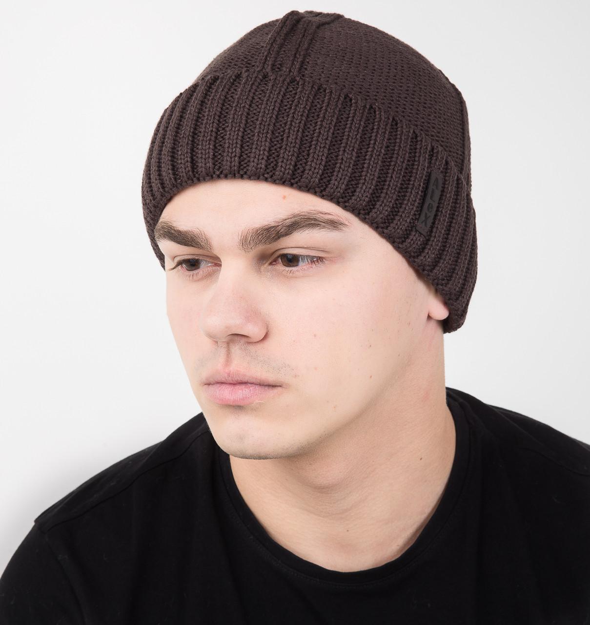 Зимняя вязаная мужская шапка на флисе (кофе) - Артикул AL17034