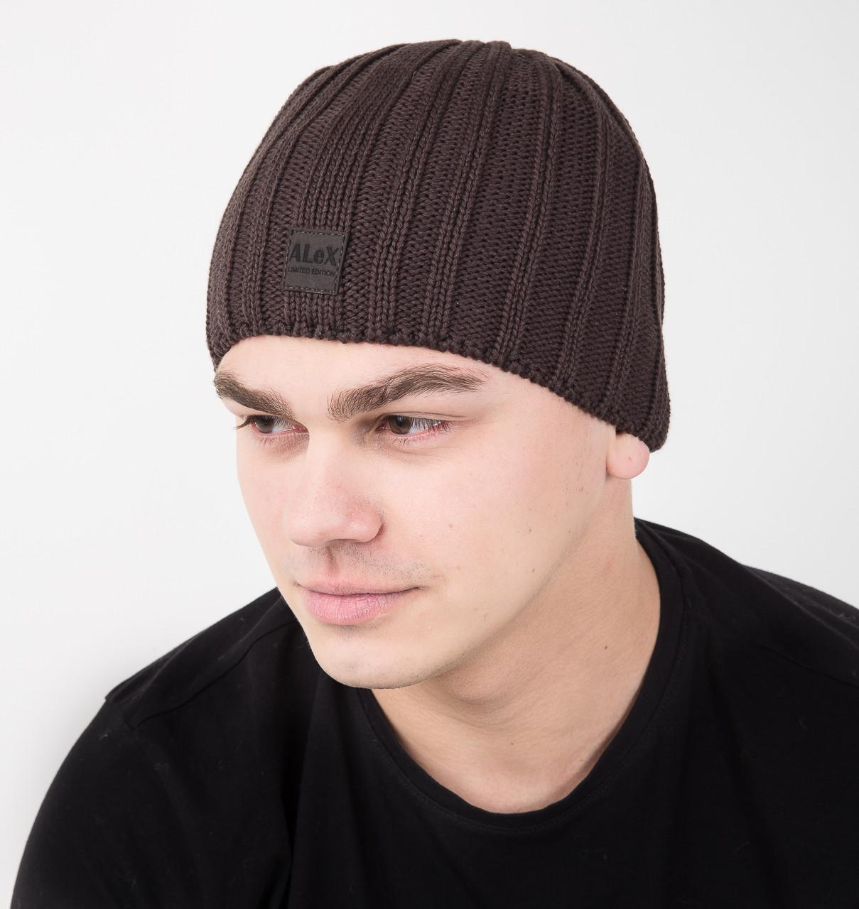 Вязаная мужская шапка на флисе - Артикул AL17042