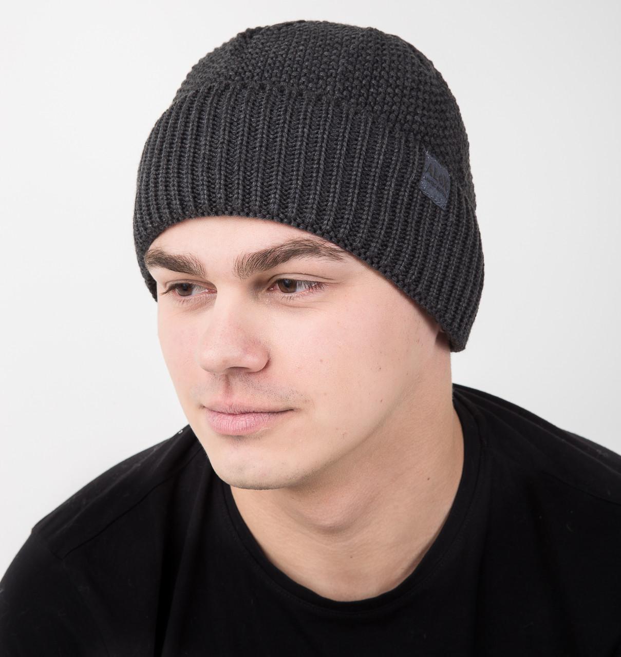 Серая вязаная мужская шапка на флисе - Артикул AL17036